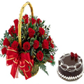 Rose basket w/cake